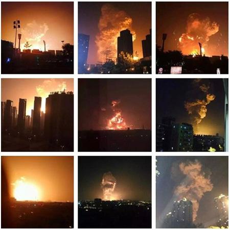 天津因危化品堆垛发生强烈爆炸现场