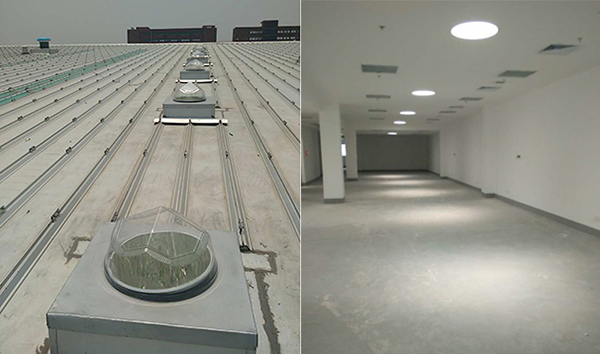 光导照明系统常见的安装方式有:顶层安装、侧墙安装、绿化带安装与路面安装。今天,我们来了解一下顶层安装及其应用案例。  顶层安装即将光导照明采光点设置在单层建筑或多层建筑顶层的屋顶。屋顶结构大致可分为钢结构和混凝土结构,多使用钻石形采光罩为宜。 屋顶的作用远不止只为建筑内部遮风挡雨,还可应用光伏发电板,供发电使用。而现在较为多建筑物在顶部安装采光罩,将室外太阳光直接引进室内,实现无电、全光谱、无频闪、无眩光、高显指的照明。具体的应用可参考下图案例: 河南郑州郑东新区行政服务中心  湖北武汉通用汽车基地